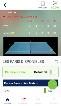 Interface du direct sur l'app ParionsSport en ligne