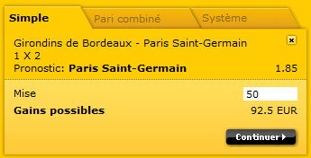pari simple chez Bwin